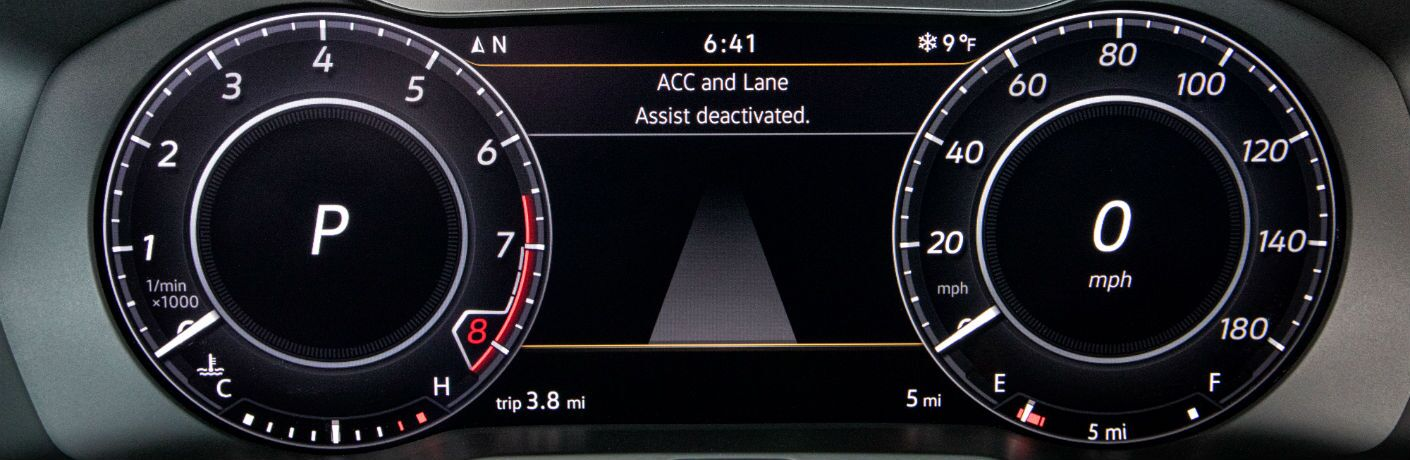 A close up photo of the digital gauge cluster available in the 2019 VW Arteon.