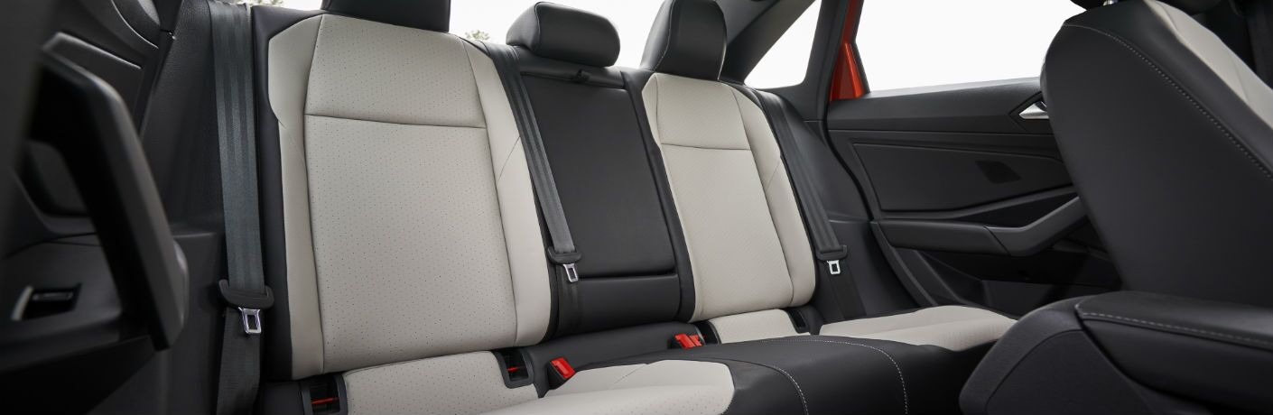 An interior photo of the backseat in the 2019 Volkswagen Jetta.