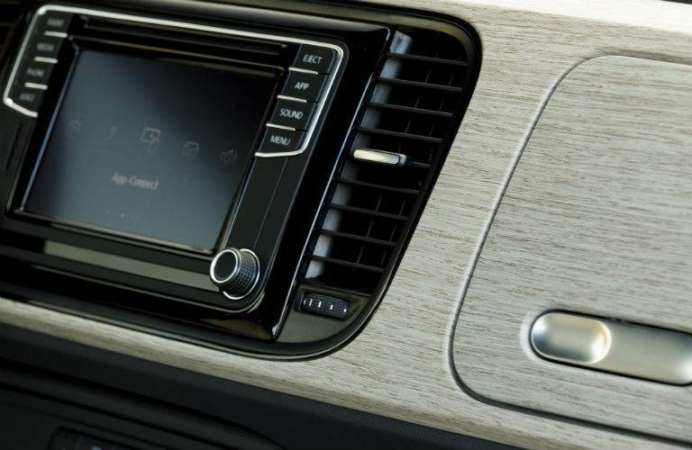 A close up photo of the special dashboard design used in the 2018 VW Beetle Coast version