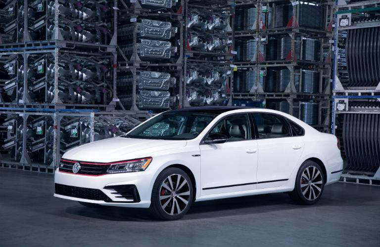 A left front quarter view of the 2018 VW Passat GT in a factory setting