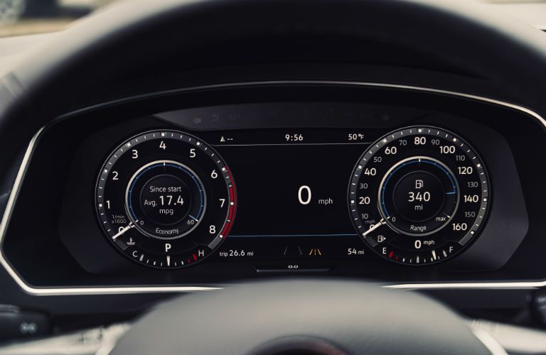 A photo of the digital gauge cluster in the 2018 VW Tiguan.