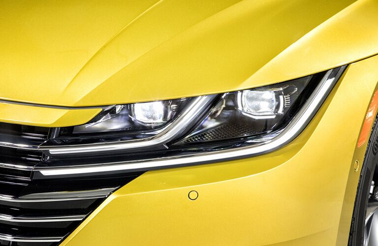 A close up photo of the LED headlights used on the 2019 VW Arteon.
