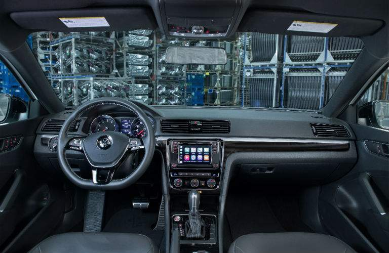 An interior view of the 2018 Passat showing the available touchscreen interface found in some models