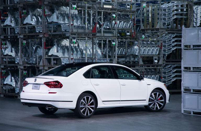 A rear right quarter images of a 2018 VW Passa GT in the factory