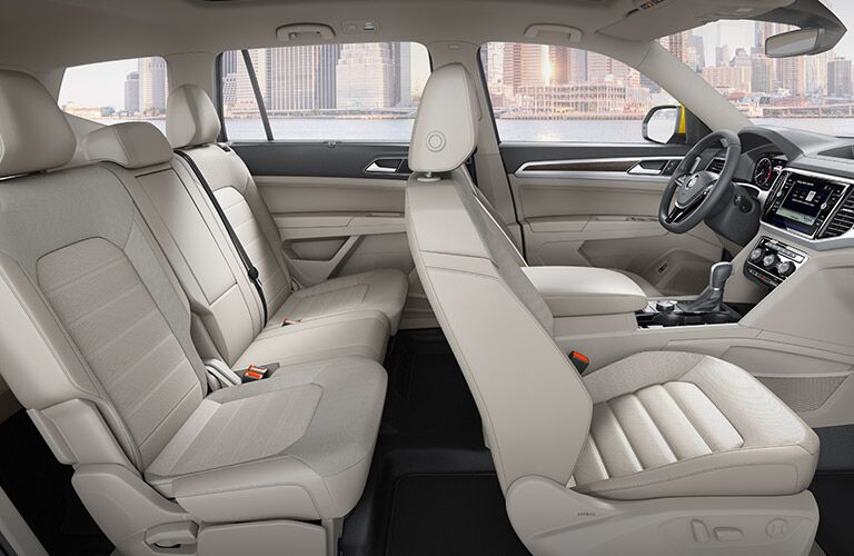 An interior photo showing one of the seating configurations in the 2018 VW Atlas.
