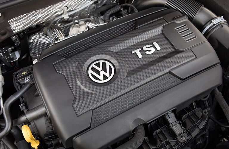 A photo of the turbocharged, four-cylinder engine equipped with the 2018 VW Golf GTI.
