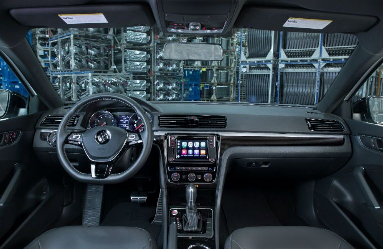 A photo of the dashboard in the 2018 VW Passat GT.