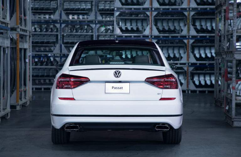 A rear view of the 2018 Passat showing the large trunk lid which makes loading easier