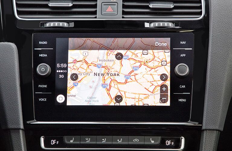A photo of the navigation system in the 2018 VW Golf GTI.