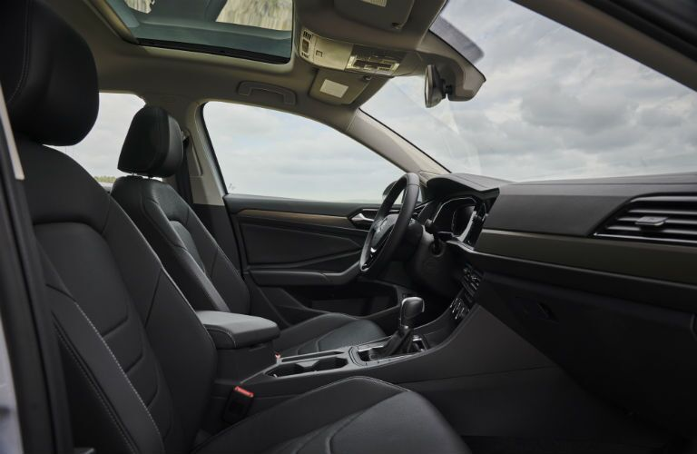 An interior photo of the front seats in the 2019 VW Jetta