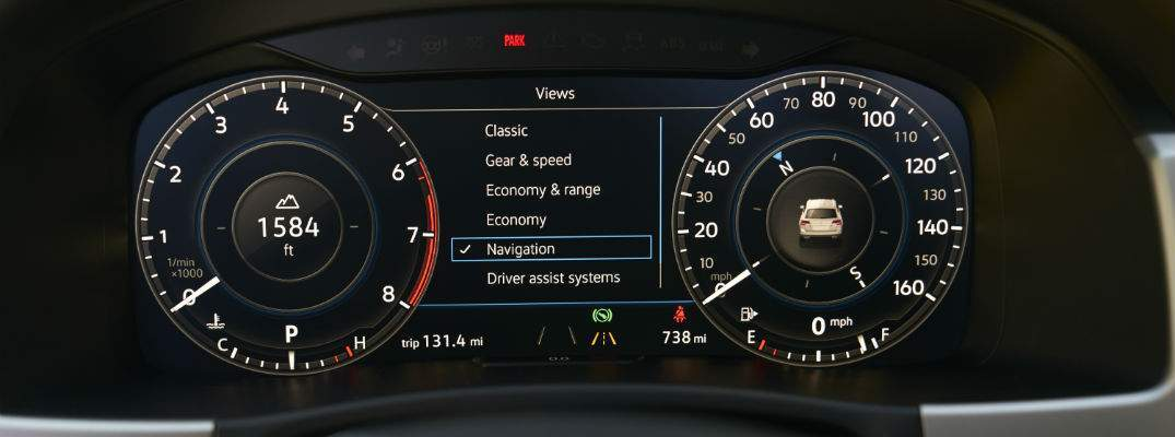 VW digital cockpit display shown. The information shown can be customized