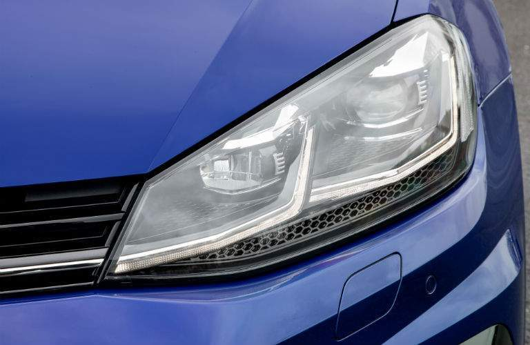 Front left headlight shown. The 2018 Golf R has available adaptive headlights for extra safety