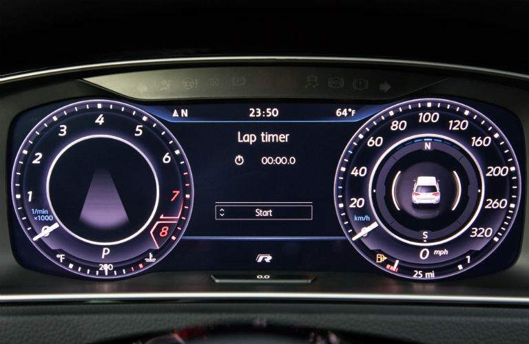 Digital Cockpit Display in the 2018 Golf R is shown. Drivers can customize the information that is shown