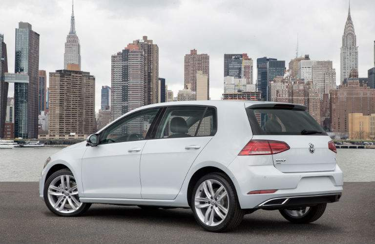 2018 VW Golf S in white rear left quarter. The 2018 received several style updates