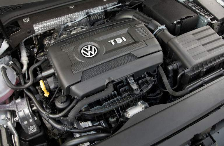 The turbocharged 1.8-liter four-cylinder engine used by the 2018 Golf SEL