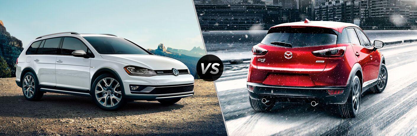 A side-by-side comparison of the 2018 Volkswagen Golf Alltrack vs. 2018 Mazda CX-3.