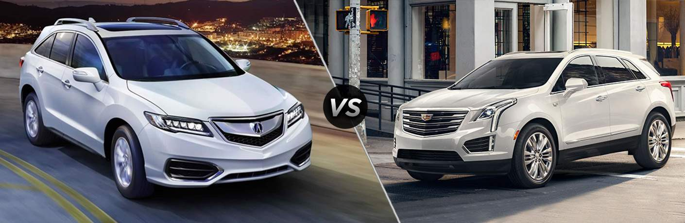 2018 Acura RDX and 2018 Cadillac XT5 both in white in a side by side comparison. 2018 Acura RDX vs. 2018 Cadillac XT5