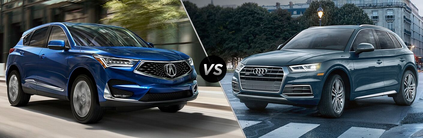 Another side-by-side comparison photo of the 2019 Acura RDX vs. 2019 Audi Q5.
