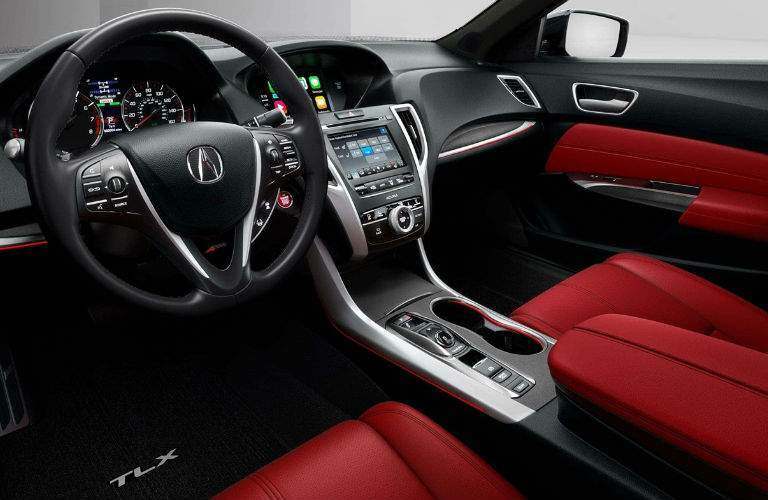 A 2018 Acura TLX A-Spec model shows off its available red seats