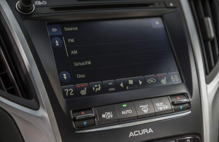 The touchscreen interface for the infotainment system of the 2018 TLX is standard equipment