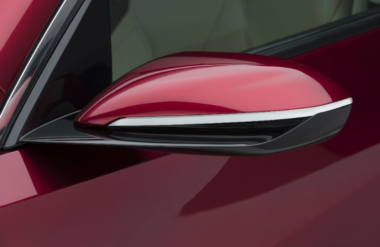 A close up photo of one of the side mirrors on the 2019 RDX prototype