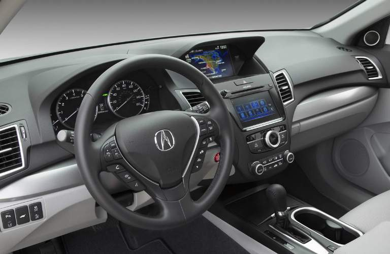 A view of the driver's cockpit, controls and infotainment system available in the 2018 Acura RDX