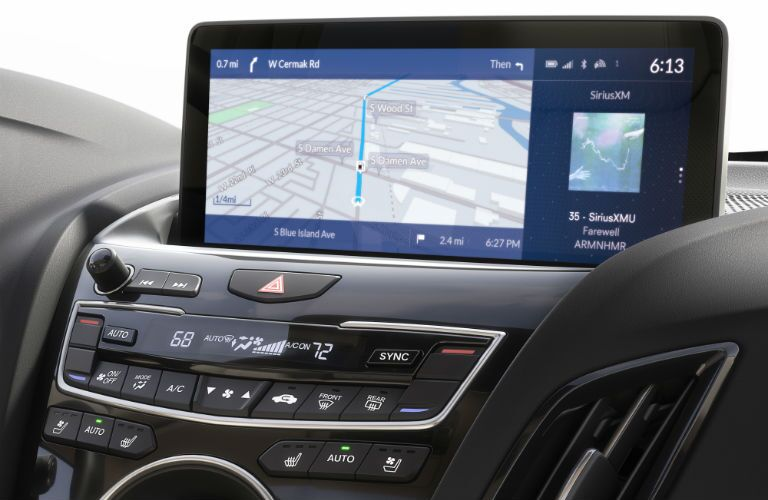 A close up photo showing the infotainment system's interface in the 2019 RDX prototype.