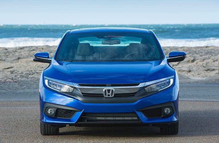 front view of a blue 2017 Honda Civic Coupe