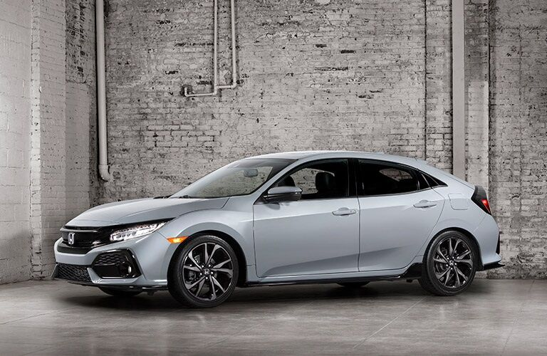 2017 silver Honda Civic Hatchback parked inside
