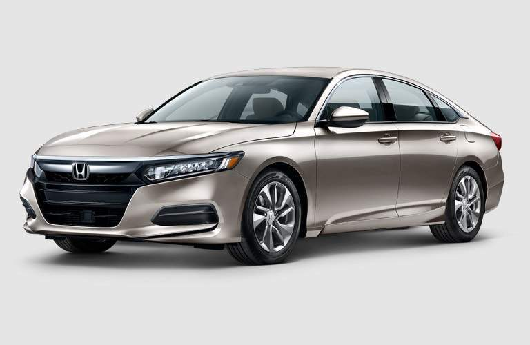 front side view of a Champagne Frost 2018 Honda Accord