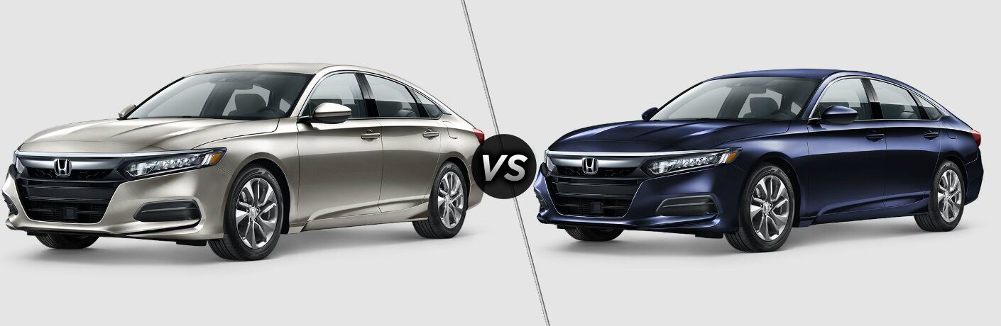 Tan 2018 Honda Accord and Blue 2019 Honda Accord side by side