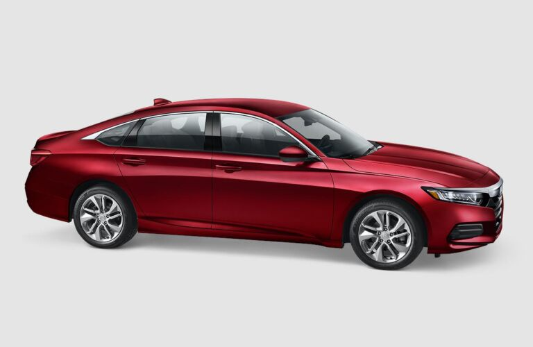 Side view of a red 2019 Honda Accord LX CVT