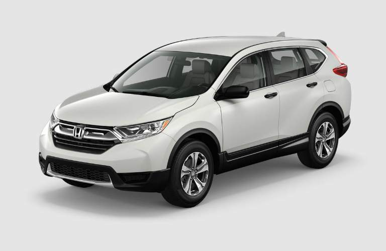 left side front view of a white 2018 Honda CR-V