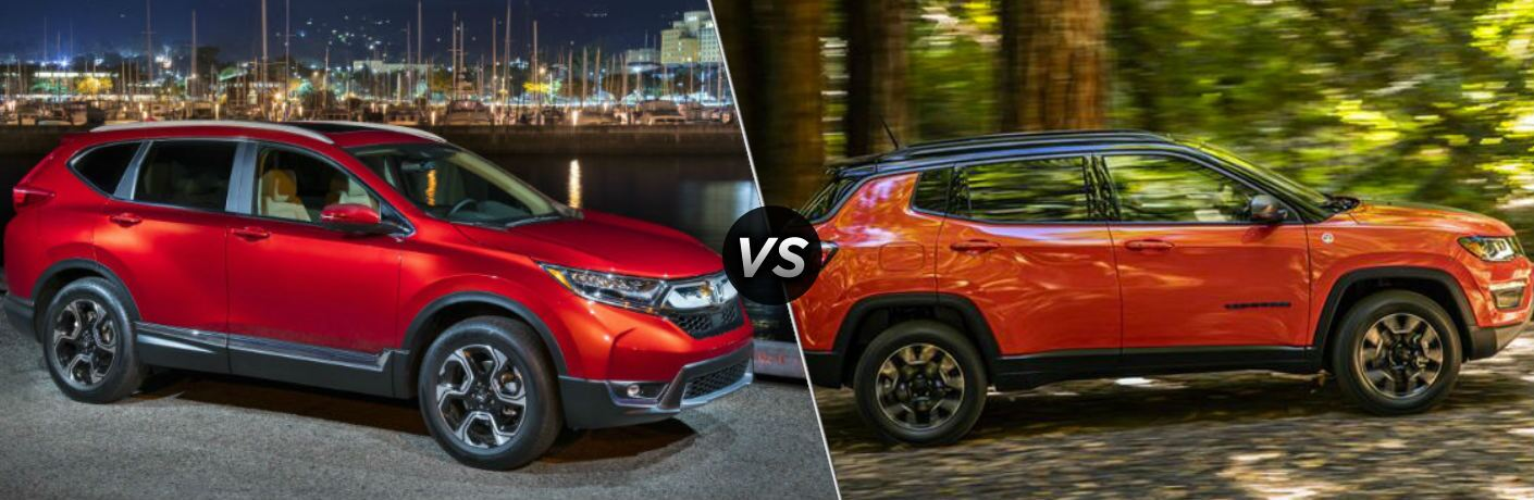 Red 2018 Honda CR-V and orange 2018 Jeep Compass side by side