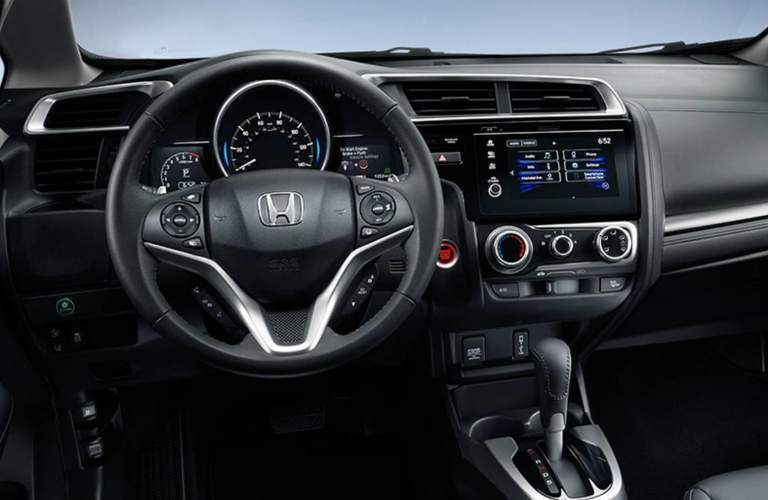 steering wheel and dashboard of the 2018 Honda Fit