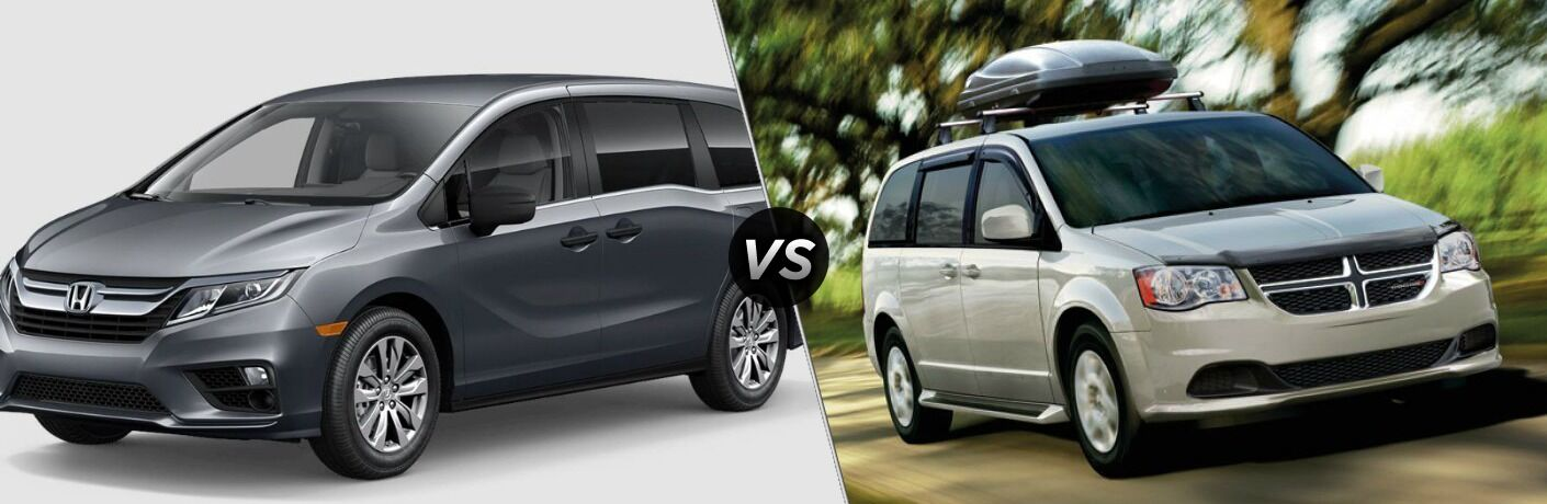 Grey 2018 Honda Odyssey And White 2018 Dodge Grand Caravan Side By Side