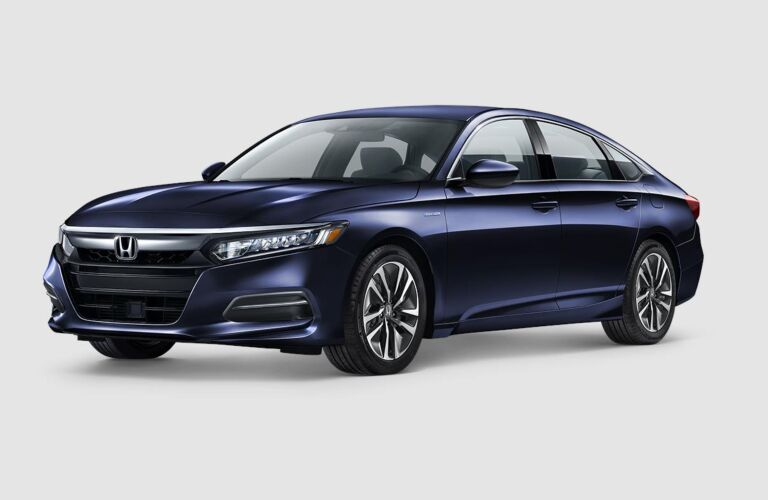 Blue 2019 Honda Accord Hybrid on a gray background