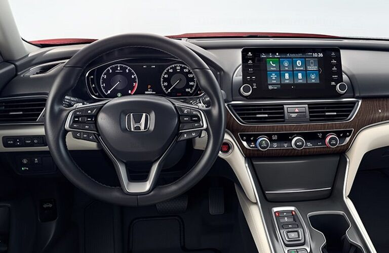 Steering wheel and infotainment system in the 2019 Honda Accord