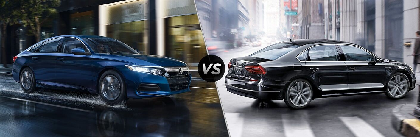 Blue 2019 Honda Accord and black 2019 Volkswagen Passat side by side