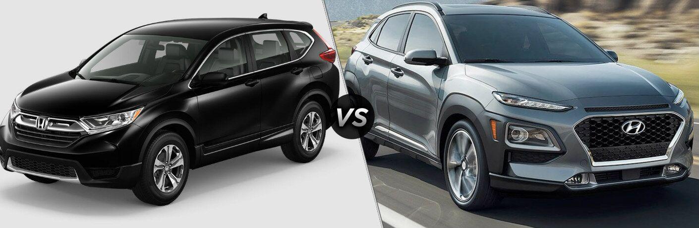Black 2019 Honda CR-V and silver 2019 Hyundai Kona side by side