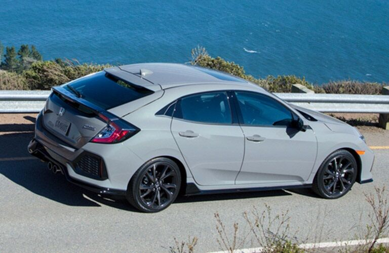 Overhead side view with a 2019 Honda Civic Hatchback