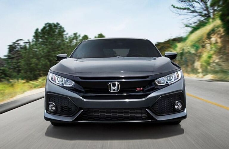 Front view of a black 2019 Honda Civic Si