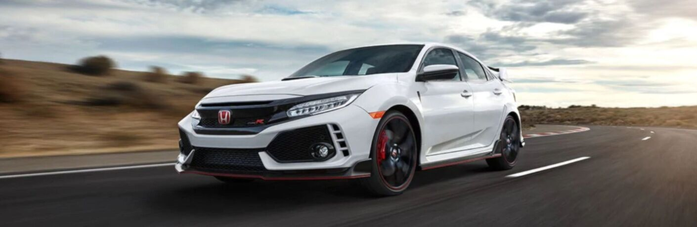 White 2019 Honda Civic Type R on a test track