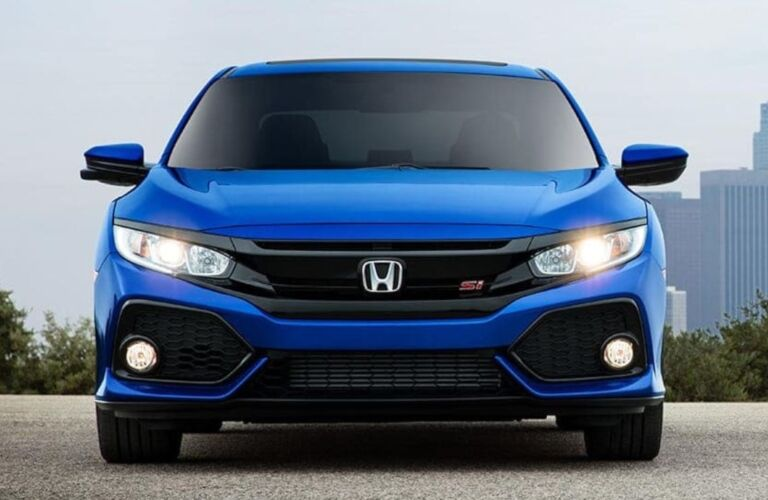 Front view of a blue 2019 Honda Civic Si