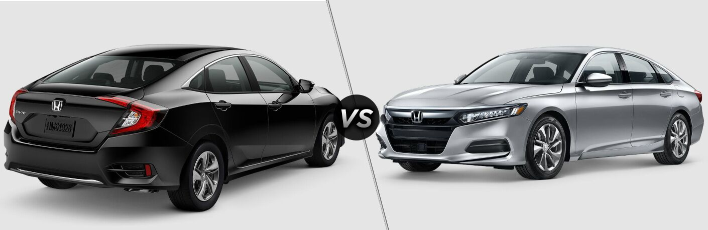 Black 2019 Honda Civic and silver 2019 Honda Accord side by side