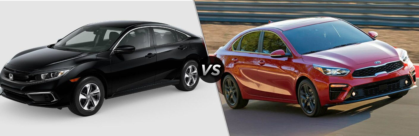 Black 2019 Honda Civic and red 2019 Kia Forte side by side