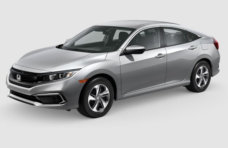 Silver 2019 Honda Civic on a gray background