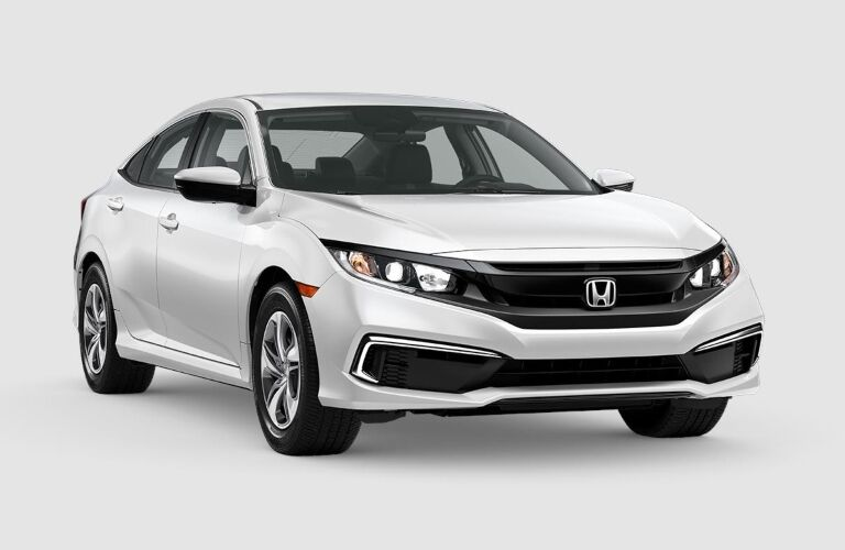 Front view of a white 2019 Honda Civic on a gray background