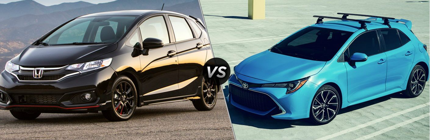 Black 2019 Honda Fit and blue 2019 Toyota Corolla Hatchback side by side