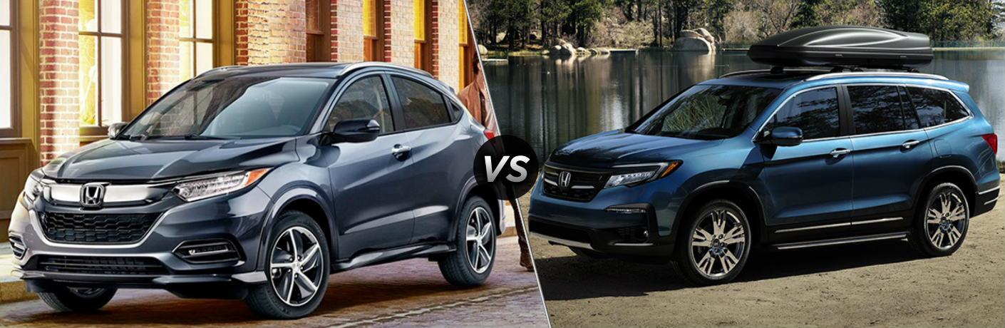 Blue 2019 Honda HR-V and blue 2019 Honda Pilot side by side